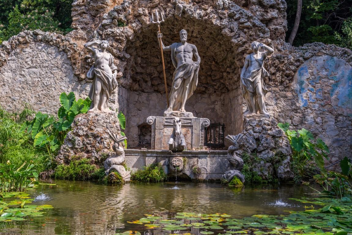 Photo of Neptune Fountain in Trsteno Arboretum, Dubrovnik, Dalmatia, Croatia