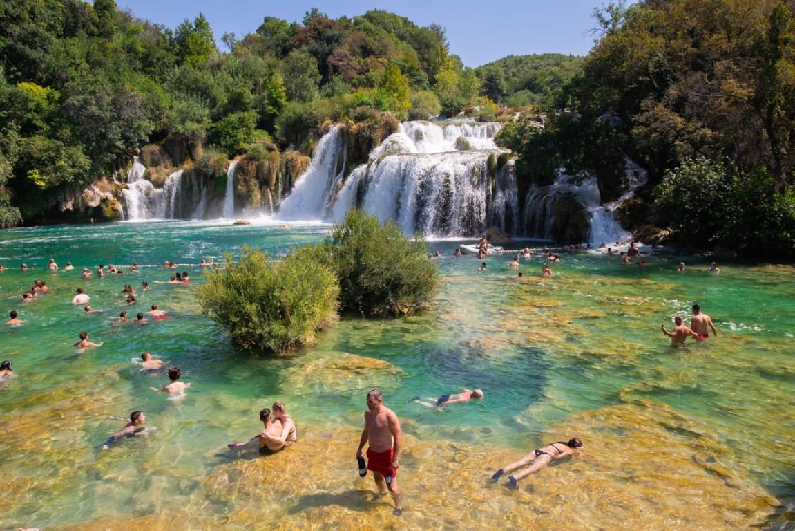 People swiming in Krka National Park, Dalmatia, Coratia near Sibenik