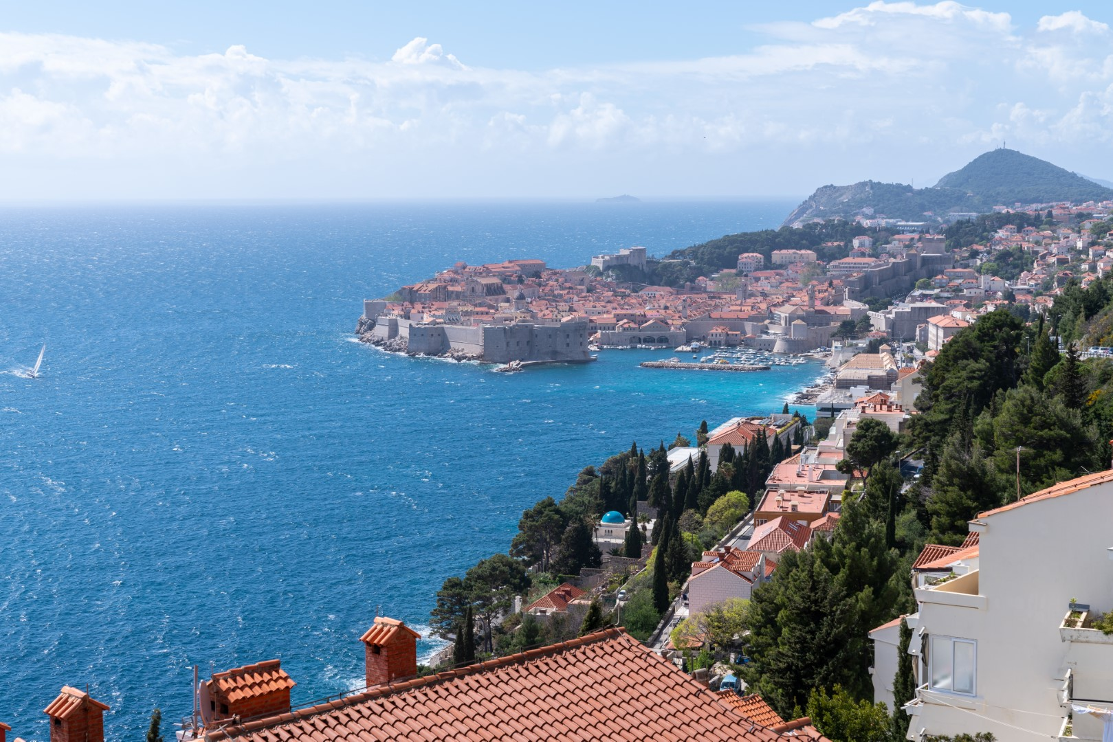 Dubrovnik castle surrounded by adriatic sea in Croatia with a clear sky